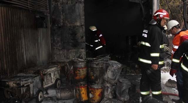 Boya fabrikasında çıkan yangın korkuttu
