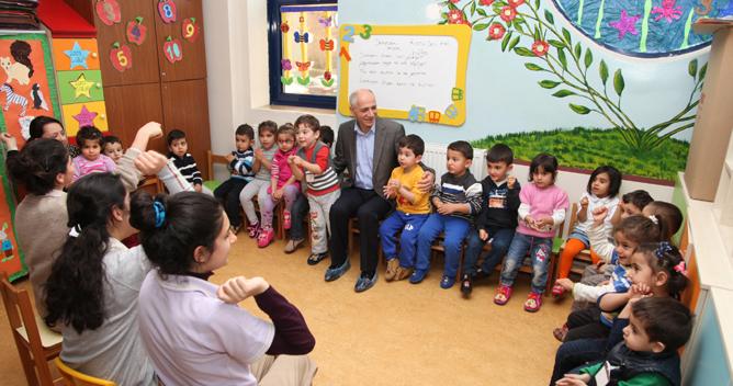 Başkan Akbaş, çocuklarla