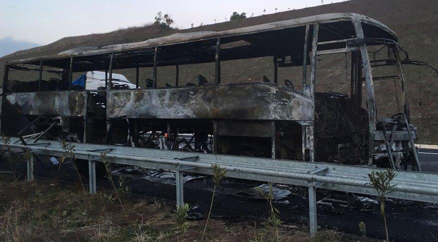 Bursa'da yolcu otobüsü alev alev yandı; yolcular ölümden döndü