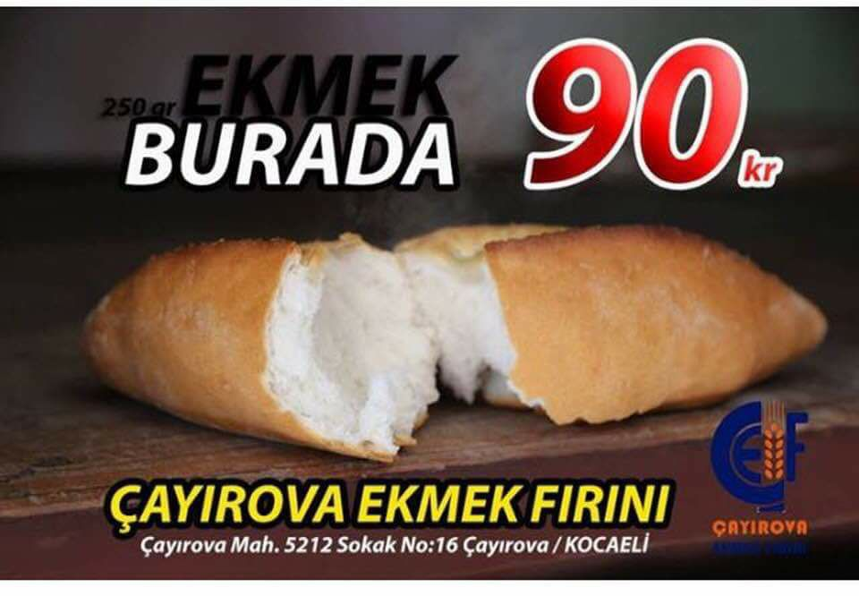 Ekmek 90 kuruş!
