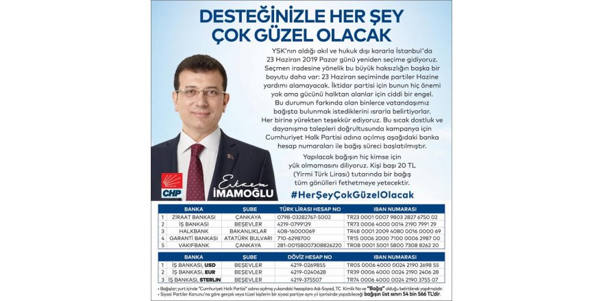 CHP'den İmamoğlu Seçim Kampanyası için çağrı