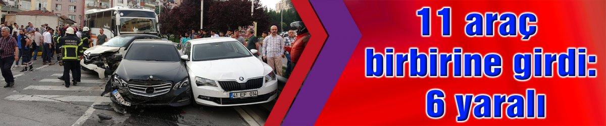 MİDİBÜSÜN FRENİ BOŞALDI:   11 araç birbirine girdi: 6 yaralı