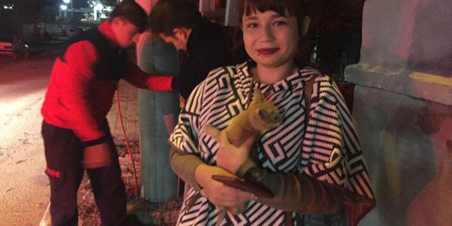 Yavru kediyi itfaiye kurtardı