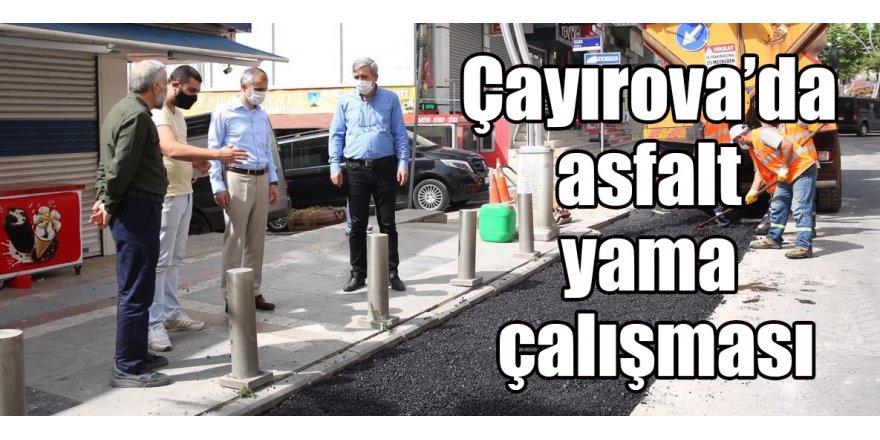 Çayırova'da asfalt yama çalışması