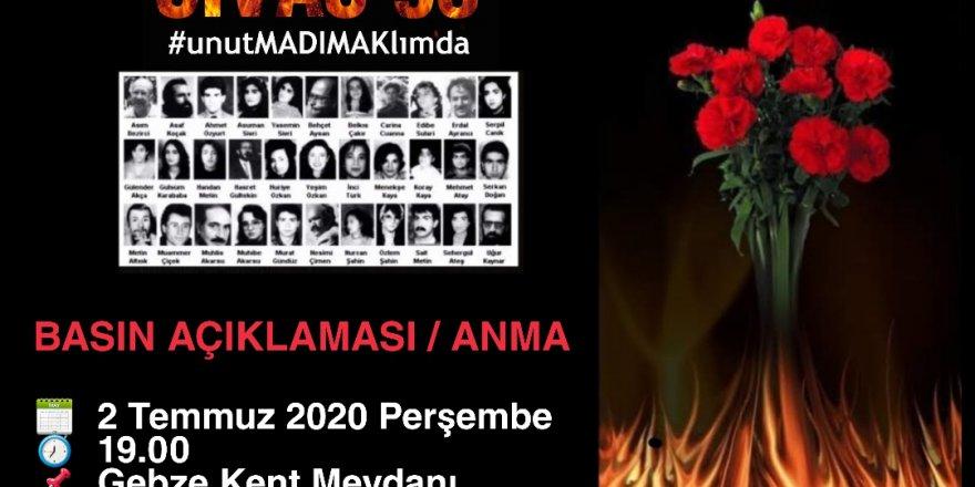 Sivas'ta katledilenler Gebze'de anılıyor