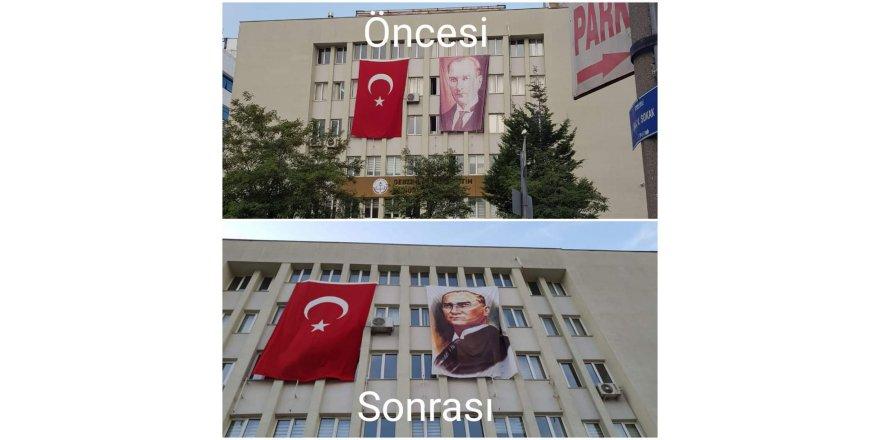 Tepkİler sonrası  Atatürk posteri yenilendi!