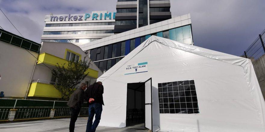 Merkez Prime Hastanesi testleri sağlık çadırında yapıyor