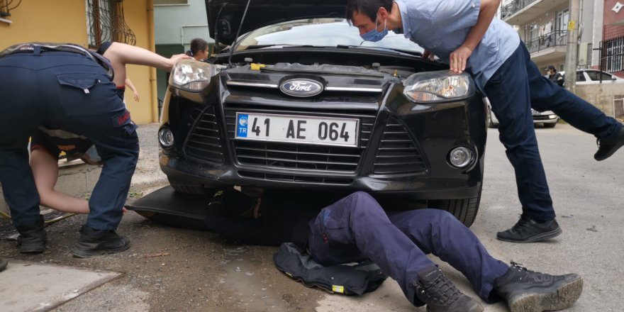Aracın motoruna sıkışan  kedi ve yavrusu kurtarıldı