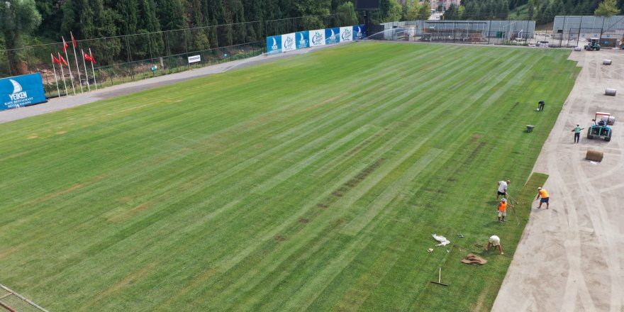 Stadın çimleri seriliyor
