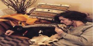Özge Özpirinçci evinde keçi besliyor