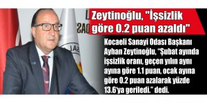"""Zeytinoğlu, """"İşsizlik göre 0.2 puan azaldı"""""""