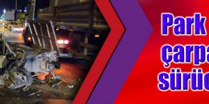 Park halindeki tıra çarpan otomobilin sürücüsü yaralandı