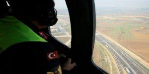 Kuzey Marmara Otoyolu'nda  helikopter destekli trafik denetimi